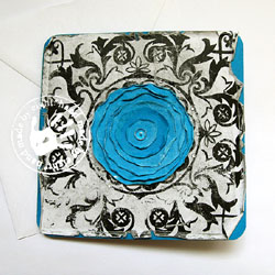 kartka okolicznościowa,niebieski,kwiat,ornament - Kartki okolicznościowe - Akcesoria
