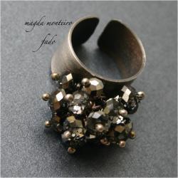 srebro,kryształ,swarovski,czarny,pierścionek,oksyd - Pierścionki - Biżuteria