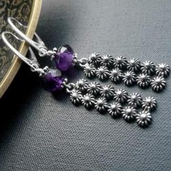 srebrne,kolczyki,z ametystem - Kolczyki - Biżuteria