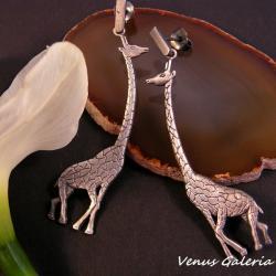 srebrne kolczyki,żyrafy,unikatowe - Kolczyki - Biżuteria