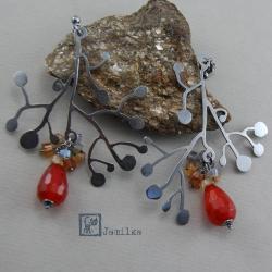 srebro,jesień,karneol,dym,nostalgiczne - Kolczyki - Biżuteria