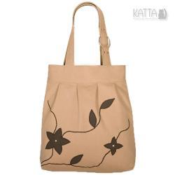 brązowe kwiaty,piaskowy,duża torba,na lato - Na ramię - Torebki