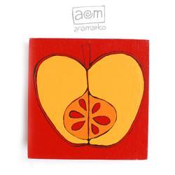 magnes na lodówkę,anamarko,jabłko,jabluszko - Magnesy na lodówkę - Wyposażenie wnętrz