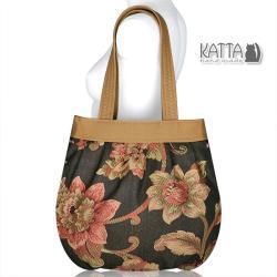torba w kwiaty,torba worek,na wiosnę,elegancja - Na ramię - Torebki