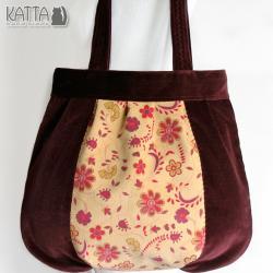 aksamitna torba,w kwiatki,przyjemna w dotyku - Na ramię - Torebki