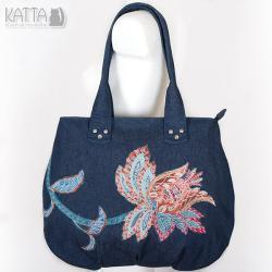 kwiatowa torba,dżins,denim,oryginalna - Na ramię - Torebki