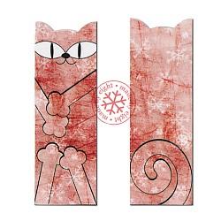 zakładka do książki,kot,czerwień,śnieg - Zakładki do książek - Akcesoria