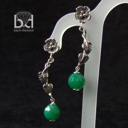 fasetowany onyks zielony - Kolczyki - Biżuteria