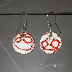 kolczyki ceramiczne,kolczyki czerwone - Kolczyki - Biżuteria