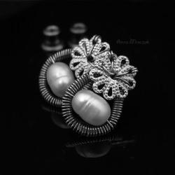perły,perła,srebro,ze srebra,wrapping,sztyfty,ag - Kolczyki - Biżuteria