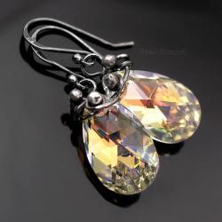 kolczyki swarovski,crystal,klipsy,oksydowane - Kolczyki - Biżuteria