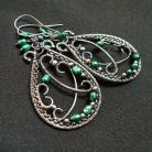 Kolczyki kolczyki,srebro,wire-wrapping,zielone,oksydowane