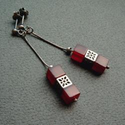 kostki,sześciany,ażurowe,eleganckie kolczyki - Kolczyki - Biżuteria