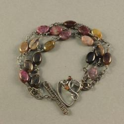 bransoletka z turmalinów,srebro,wire wrapping - Bransoletki - Biżuteria