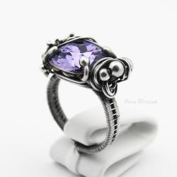 srebrny pierścionek swarovski,cushion tanzanite - Pierścionki - Biżuteria